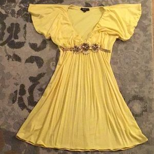 Sky yellow cotton dress with embellishment